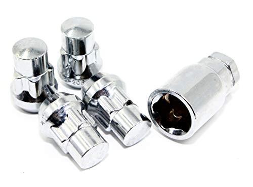 Set of 4 Veritek 12x1.25mm 1.40 Inch Chrome Acorn Bulge Tuner Socket Style Wheel Locks for Aftermarket Custom Wheels