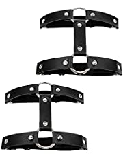 Daimay Leren kousenband 2 stuks dijbeenring harnas sudispenser gothic rubber klinknagels strapsbanden verstelbaar - zwart