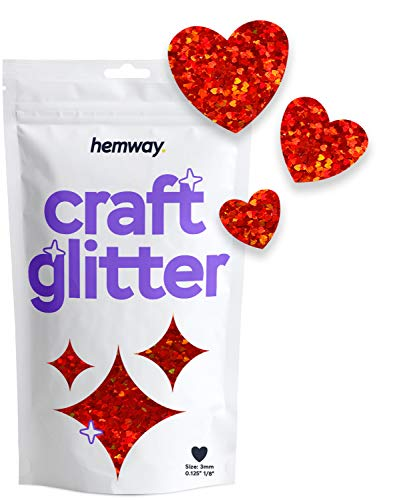 """Hemway Red Holographic Craft Glitter - 1/8"""" 0.125"""" 3mm - Heart Shaped Valentines Love Glitter Nails, Face, Arts, Crafts and Decoration - 50g"""