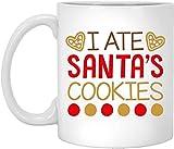 BeeTheOnly Tazze di Natale Divertenti Ho Mangiato i Biscotti di Babbo Natale, i Migliori Regali di Natale per Gli Amici I colleghi di Famiglia Tazza da caffè Bianca 11oz