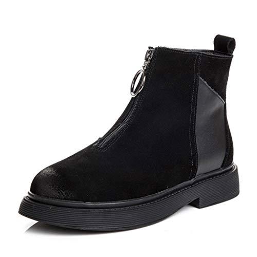 Winter Boot Dames Mode Front Rits Suede Stitching Effen Kleur Ronde Hoofd Laarzen Speciale Hoge Hakken Laarzen Vrouwen Geschikt voor Winkelcentrum Reizen