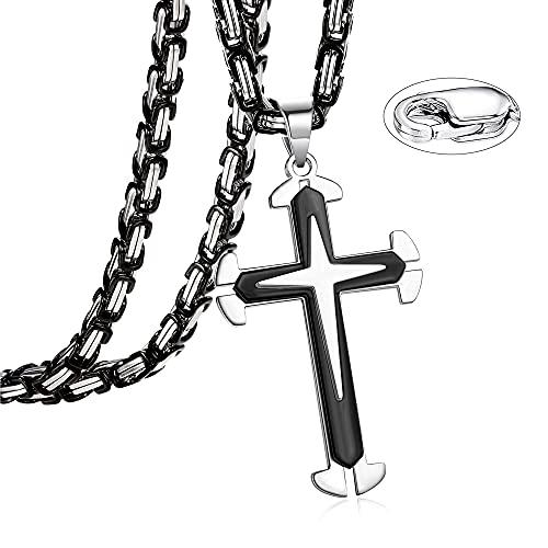 JeweBella Colgante Hombre Acero Inoxidable Cruz Collar Oro/Negro Byzantine Cadena 5MM Collar 56-76CM
