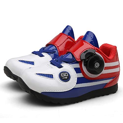 ZC Dawn Zapatillas De Spinning para Niños Ciclismo De Interior, Bicicleta De Carretera Compatible con Zapatillas De Ciclismo Y Accesorios De Ciclismo Calzado Deportivo,Blanco,25