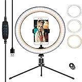 Anillo de luz LED, Selfie Ring Light y Trípode 3 Colores Modo 10 Brillos Regulables, Aro de luz LED Rotación de 360° para Selfie, Maquillaje y Youtube Live