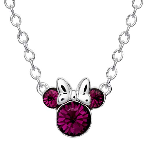 Disney Minnie Mouse Crystal Birthstone Silver Plated Pendant Necklace, February Amethyst Purple
