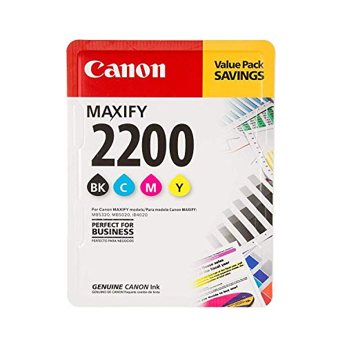 Canon Ink MAXIFY PGI-2200 4 Color Multi Pack Ink Black Cyan Magenta Yellow