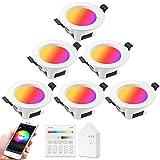 6 faretti da incasso WiFi Bluetooth LED RGBWC, dimmerabili, 5 W, 230 V, Smart LED, da incasso, 16 milioni, colori sincronizzati, funzione memoria, compatibile con Alexa Google Home