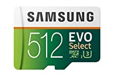 Samsung EVO Select 512 GB microSD 100MB/s, Geschwindigkeit, Full HD & 4K UHD Speicherkarte inkl. SD-Adapter für Smartphone, Tablet, Action-Kamera, Drohne und Notebook © Amazon