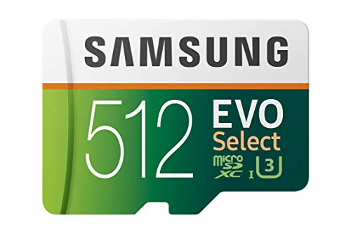 Samsung EVO Select 512 GB microSD 100 MB/s, velocidad Full HD & 4K UHD tarjeta de memoria incluye adaptador SD para smartphone, tableta, cámara de acción, dron y portátil