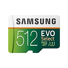Samsung (mb-me512ga/am) 512gb 100mb/s (u3) microsdxc evo select memory card with adapter 1 ideal for recording 4k uhd video: samsung microsd evo is perfect for high res photos, gaming, music, tablets, laptops, action cameras, dslr's, drones, smartphones (galaxy s10, s10+, s10e, s9, s9+, note9, s8, s8+, note8, s7, s7 edge, etc. ), android devices and more enhanced detail with hdr: 4k depth of detail with high dynamic range lets you see shades of color that reveal more detail than hdtv can deliver built to last reliability: shock proof memory card is also water proof, temperature proof, x ray proof and magnetic proof