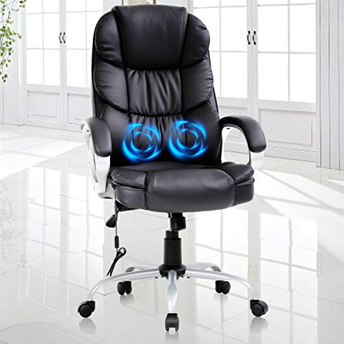 Adjustable Home Office Chair,High Back Massage Heated Desk Task Chair,Ergonomic 250Lbs Heavy Computer Chairs w/Lumbar Support Headrest Armrest Executive Rolling Swivel PU Leather Chair for Adults