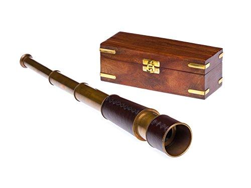 aubaho Fernrohr Messing 49cm mit Holzbox Maritim Teleskop Monokular Fernglas Antikstil