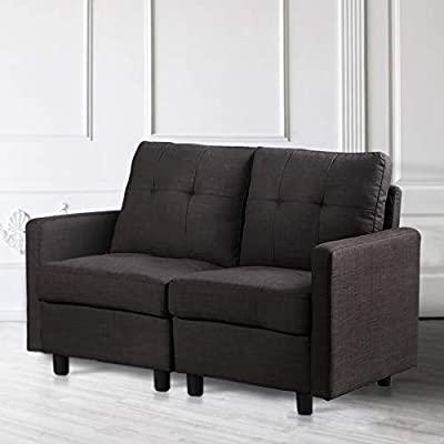 DAZONE Modular Sectional Sofa Assemble, Modular Sectional Sofas Bundle Set Cushions, Easy to Assemble Left & Right Arm Chair,Armless Chair, Corner Chair,Ottomans Table Charcoal