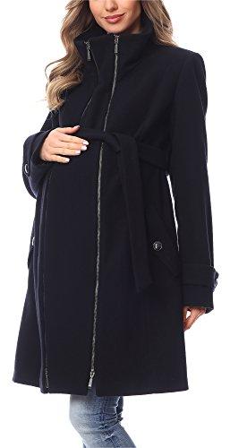 Be Mammy Damen Umstandsmantel Wolle Wintermantel BE20-225 (Dunkelblau, 38)