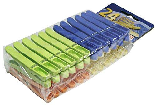 Pinza da bucato in plastica, Laguelle, ergonomico, indistruttibile e Anti-uv, confezione da 24