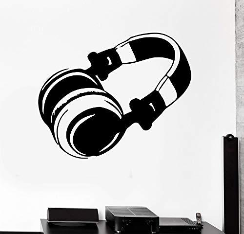 PMSMT Calcomanía de Vinilo Moderna para Auriculares, Pegatina de Pared de música Pop Rock, Sala de Estar, Arte, Auriculares, decoración para el hogar, Pegatina NY-261