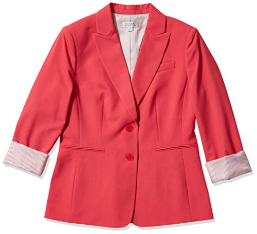 Tahari ASL Women's 2 Button Roll Sleeve Jacket, Rouge Red Heather, 4
