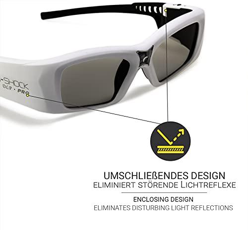 Hi-SHOCK DLP Pro 7G White Diamond | DLP Link 3D Brille kompatibel mit DLP 3D Beamer von Acer, BenQ, Viewsonic, Optoma, LG [Founders-Edition | 96 Hz / 100 Hz / 120 Hz / 144 Hz - akku | DLP Link]