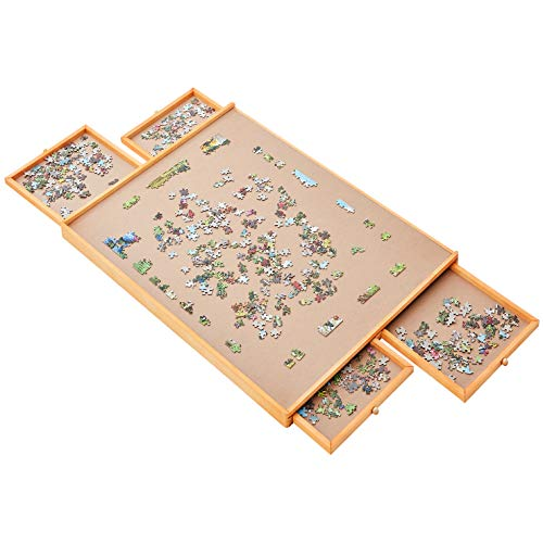 """Jumbo Size: 34""""×26"""" for Maximum 1500 Pieces Puzzles, Puzzle Board, Puzzle Table, Puzzle Tables for Adults, Puzzle Boards and Storage, Jigsaw Puzzle Table, Puzzle Tray, Weight: 2.0 LBS (5 KGS)"""