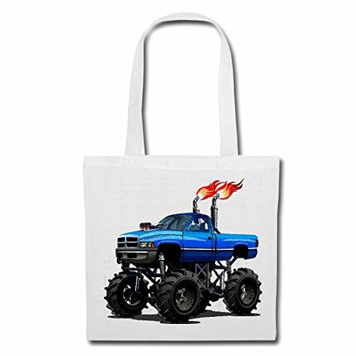 Tasche Umhängetasche Off Road 4X4 Monster Truck 4×4 GELÄNDEWAGEN Buggy Autocross STOCKCAR RENNEN Einkaufstasche Schulbeutel Turnbeutel in Weiß