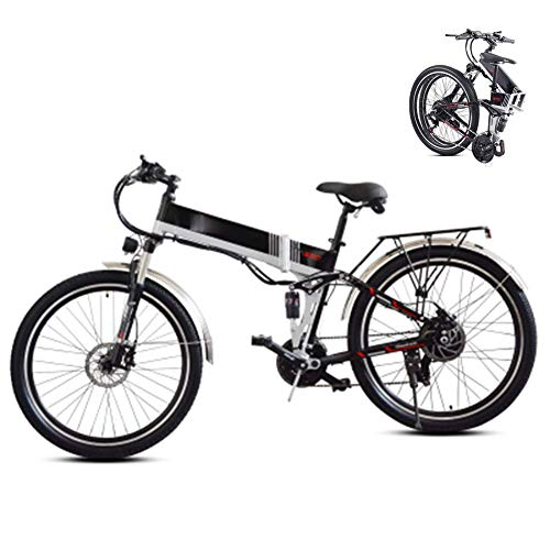LJYY Bicicleta Plegable para senderos de montaña, Bicicleta de montaña eléctrica Plegable, Bicicleta eléctrica de 26 Pulgadas para Adultos, Bicicleta eléctrica con neumáticos Gruesos, 48 V, 350