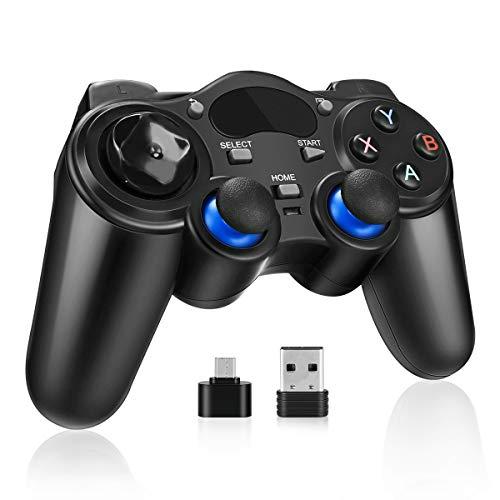 PC Gamepad, Powcan 2.4G Wireless PS3 Controller, Gaming Controller, Dual Shock, Turbo für PS3/PC/Android TV-Box