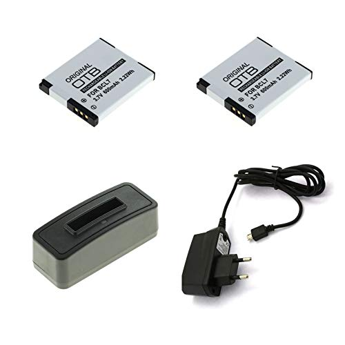 bg-akku24 2 Stück Akku, Ladegerät und Netzteil für Panasonic Lumix DMC-SZ3, DMC-SZ8, DMC-SZ9, DMC-SZ10, DMC-XS1, DMW-BCL7