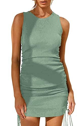 JIraewh Damen Sommerkleid Sexy MiniKleid Round Neck Ärmellos Tank Kleid Casual Strandkleid Unregelmäßige Saum Party Miederkleid(Grün-3043,M)