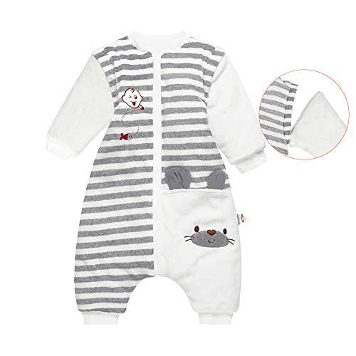 DDY - Saco de dormir para bebé (forro polar, con pies y mangas), para niños y niñas de invierno de 18 a 24 meses - gris - 100 cm (2- 3 años)