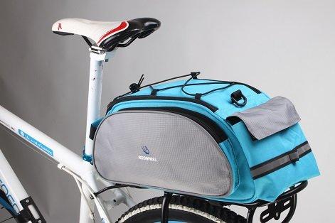 electro-fun-handel Roswheel 14541 multifunktionale Mountain Bike Fahrrad hinten Sitz Gepäckträgertasche Tasche (Grau/Blau) (Blau)