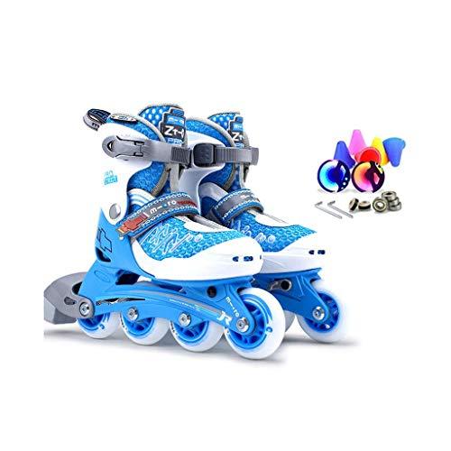 Taoke Inline Skates, Geschwindigkeit Skates, Kinderrollschuhe, Schlittschuhe Einstellbare (Farbe: Blau, Größe: L (35-38) 11 Jahre oder älter) dongdong