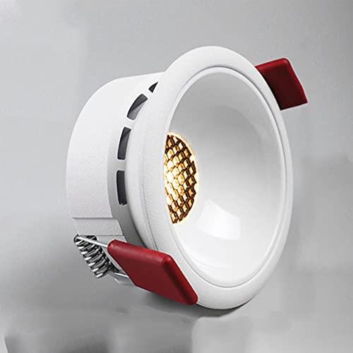 Crcrbg Foco LED Incrustado Agujero Ultrafino Panal Antideslumbrante Downlight Sin Foco Principal Luz de Techo Foco Ultrafino Panal Antideslumbrante Luz cálida