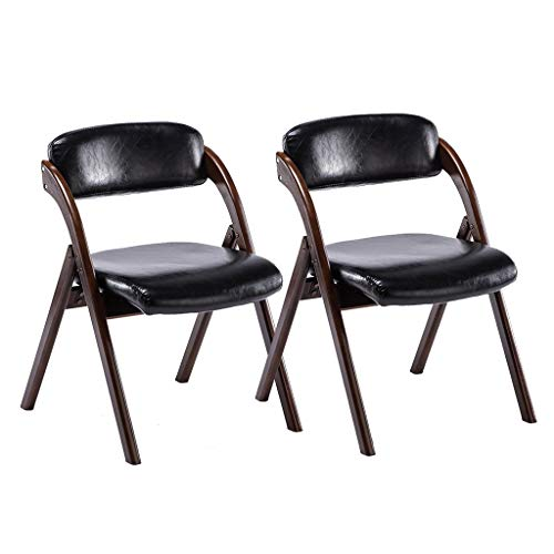 ZWJLIZI (2ST) Klappstuhl, Gummi-Holz-Rückenlehne klappbar speisender Stuhl, Portable PU Leder bezogen Bürostuhl, Schreibtisch, Konferenzstuhl (Color : A)