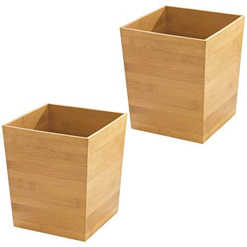 mDesign Poubelle 'bambou' carré - idéal comme poubelle ou corbeille à papier - plastique durable - pour cuisine, salle de bain et bureau - design moderne et matériau de qualité - lot de 2