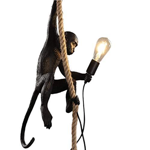 Industriële apenfamilie vintage lamp creatieve persoonlijkheid hars kroonluchter apen henneptouw kroonluchter E27 lampen