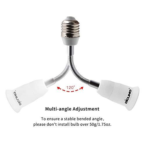 DiCUNO E26//E27 Socket Extender Adapter 2-Pack All-Directional Adjustable Lamp Socket Converter Light Bulb Socket Adapter E26//E27 to E26//E27 Flexible Extension