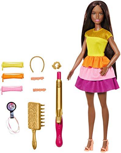 Barbie GBK25 - Locken Style Puppe (brünett) mit Lockenstab und Zubehör, Puppen Spielzeug ab 5 Jahren
