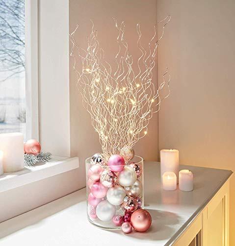 LED-Strauch mit 20 warm-weiß Lichtern, 60 cm hoch, Leuchtdeko, Dekobündel