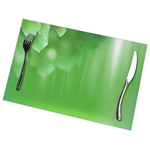 N / A Greens Spots Stripes Light Placemats Set of 6, Washable Place Mats [Non-Slip] [Heat-Resistant] Table Mats Set of 6, 45CM X30CM,