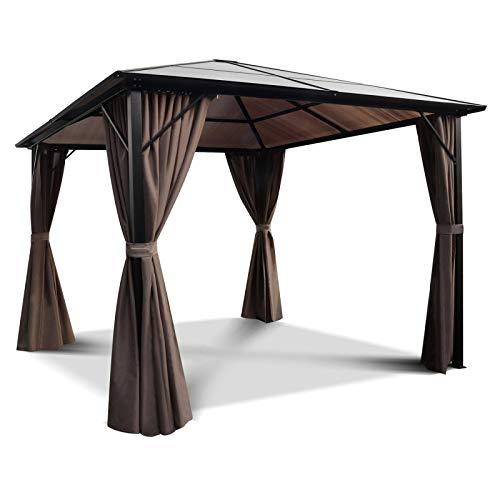 IDMarket – Carpa de Techo de policarbonato, 3 x 3 m, Cortinas, Color Gris: Amazon.es: Jardín