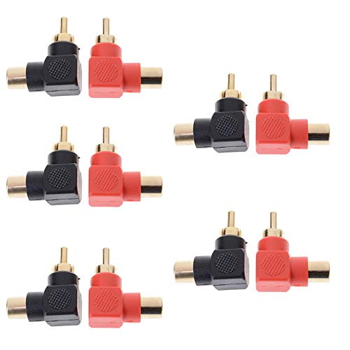 10Pc Rca Right Angle Connector Plug Adapters Male To Female 90 Degree Elbow(Black/red)