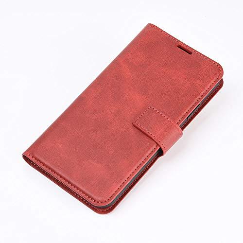 DAMAIJIA Funda Movil para Alcatel 3X 2020 Carcasa Cuero PU Silicona Magnetic Wallet Protector Teléfono Flip Back Cover For 3X 2020 Alcatel Tapa con Soporte (Red)