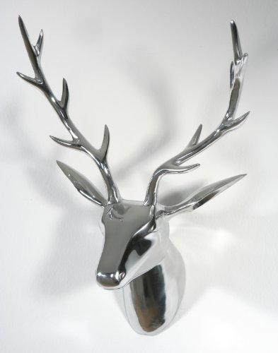 Artra Design Deko Geweih Hirschkopf \'Silber\' (Größe: L) - Wandfigur, Wanddeko, Hirschgeweih, Hirschkopf, Geweih und Skulptur