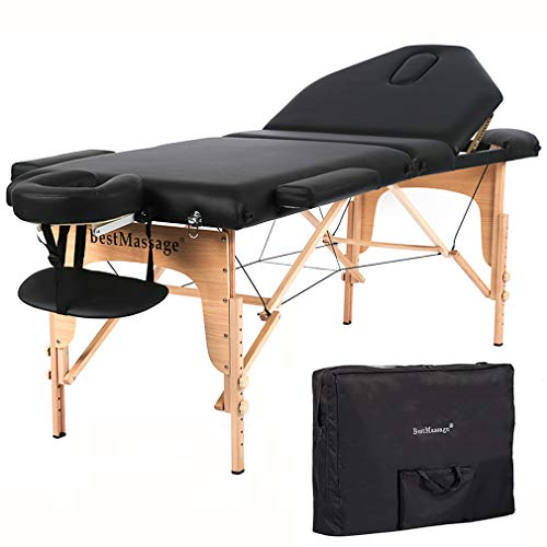 "Massage Table Massage Bed Spa Bed 73"" Height Adjustable Bed Massage Portable Salon Table Portable PU Massage Table Bed W/Carry Case"