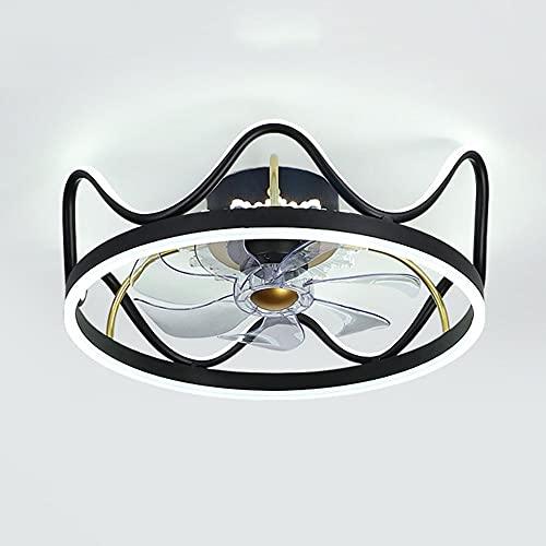 Luz de ventilador de techo invisible, luz de techo de corona simple, diámetro 18 pulgadas / 22 pulgadas, sincronización inteligente, ajuste de tres velocidades de velocidad del viento, luz de tres col