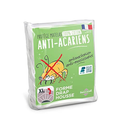 Sweethome | Protège Matelas Anti Acariens - 90x190/200 cm - Molleton 100% Coton - Doux et...