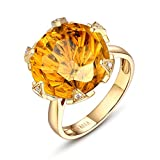 AmDxD oro amarillo 18 ct round-brilliant-shape Yellow Citrine