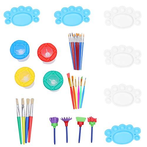 EXCEART 34 Pcs Malerei Werkzeuge Kit Keine Spill Malen Tassen Set Farbe Lieferungen mit Deckel Palette Tablett Malen Stift Pinsel Set für Kinder Geschenke