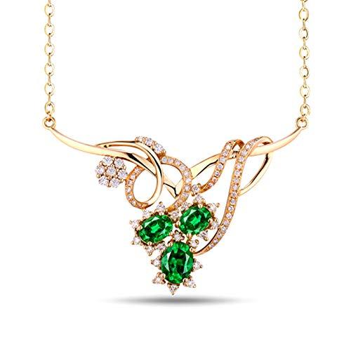 Bishilin Colgante Collar Oro 750, Flor Collares Pendientes 1.585ct Esmeralda Elegante Ajuste Cómodo Collar para Mujeres Niñas Regalos para Cumpleaños Navidad para Cumpleaños Navidad Oro