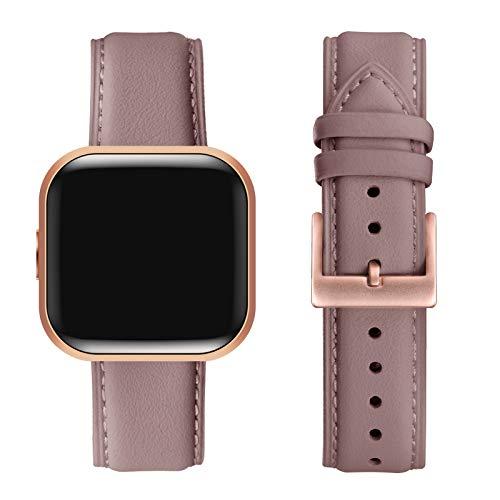 FENGLIN Kompatibel mit Fitbit Versa 2 Armband/Fitbit Versa Armband, Klassisch Leder Verstellbares Ersatzarmband Kompatibel für Fitbit Versa 2/Fitbit Versa/Versa SE/Versa Lite(Mauve/Rosegold)